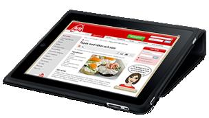 en liggande iPad i ett fodral med Arlas hemsida synlig