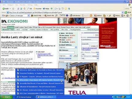 Internet Explorers aktivitetsfält