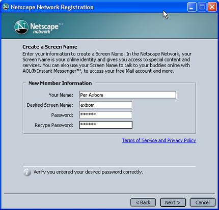 Netscapes registreringsprocess 1