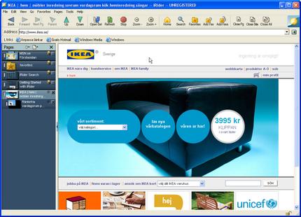 iRider och IKEAs pop-up-ruta