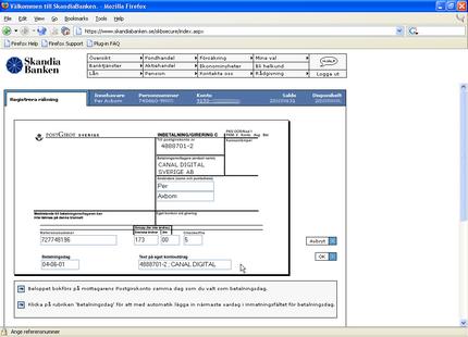 Skandiabankens hemsida i Firefox