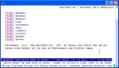 Skärmdump av Apotekets webbplats i webbläsaren lynx