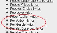 Bild från lyricsdownload.com där mitt namn står ovanför Per Gessle