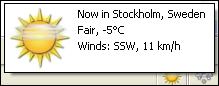 Exempel på information om vädret i Stockholm